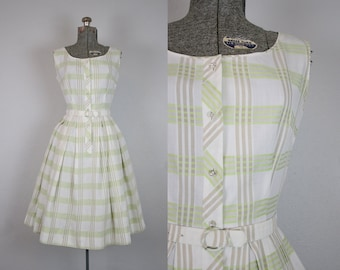 1950's Green and White Plaid Cotton Sun Dress / Size Small Medium