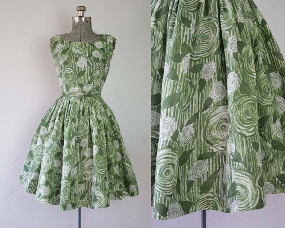 1950s Green Rose Floral Print Party Dress / Size S