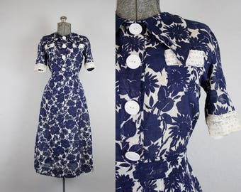 1930's 1940's Blue and White Floral Print Two Piece Dress Set / Size Medium