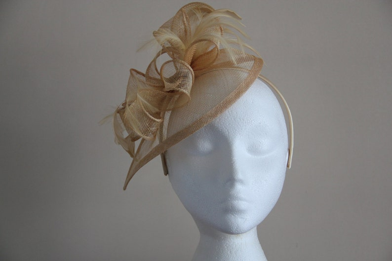 Champagne Gold Fascinator Sinamay and Feather Fascinator on a image 0