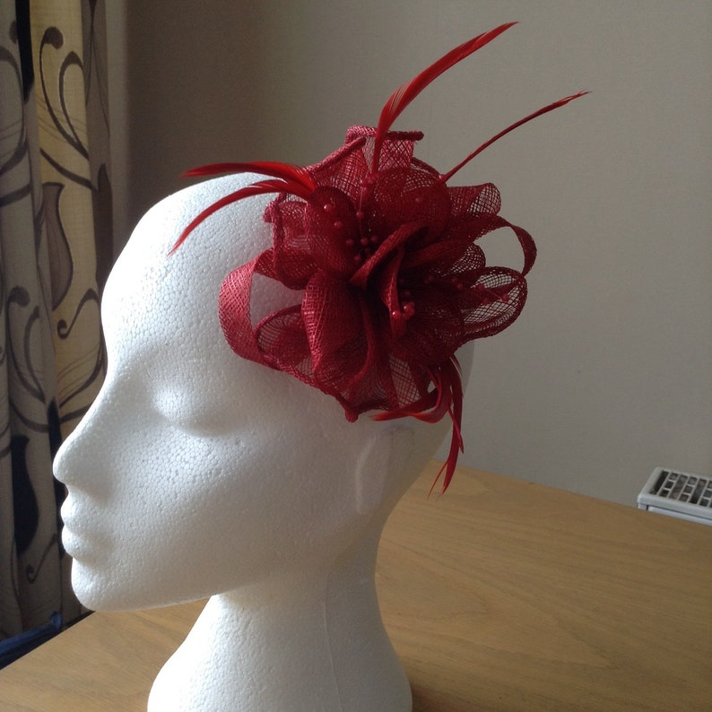 Prom Red Sinamay and Coq Feather Fascinator or Corsage with pearl sprays Races Cruise Weddings