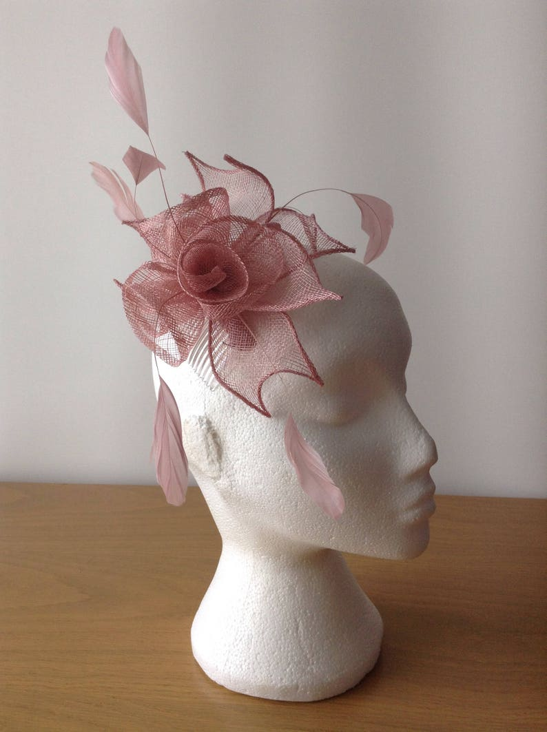Weddings Prom Cruise Heather Pink Sinamay Leaf and Flower Fascinator with Coq Feathera Fascinator on a comb