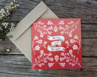 "Australian Native Christmas Card | Handmade | 5x5"" Blank Card | Square Greeting Card | Illawarra Flame Tree"