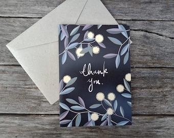 "Australian Native Thank You Card | Handmade | 5x7"" Blank Card | Blackwood Acacia"