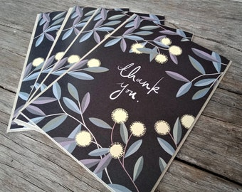 "Pack of 4 Australian Native Thank You Cards | Handmade | 5x7"" Blank Card | Blackwood Acacia"