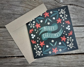 "Australian Native Christmas Card | Handmade | 5x5"" Blank Card | Square Greeting Card | NSW Christmas Bush"