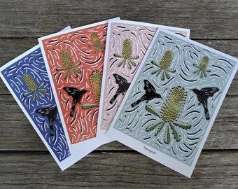 "Pack of 4 Australian Native Greeting Cards | Handmade | 5x7"" Blank Card | Wattlebirds & Banksia"