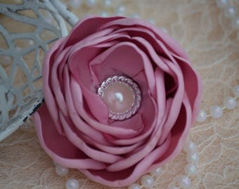 Burned Edge Flower Hot Pink Satin Ribbon Flowers Peony Flower Pearl Crystal 3 12 Peony Satin Fabric Flowers Satin Flower