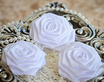 Rolled Satin Roses Satin Roses Rolled Rosettes 3 XLarge Satin Fabric Roses White Satin Rolled Rosettes Satin Flowers