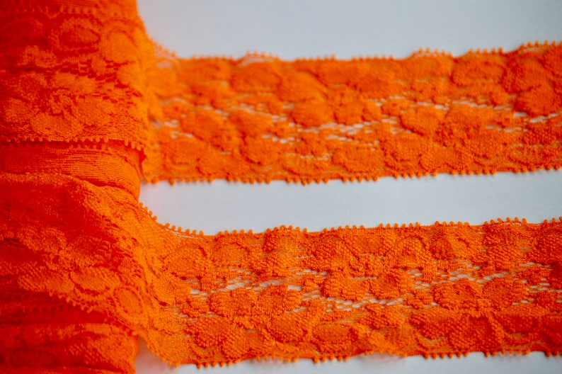 Hair Elastic -Lace FOE Orange Lace Elastic Lace Stretch Elastic -2 Lace by the yard Stretch Lace Lace Trim
