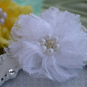 Lace Flower Lace Beaded Flower Peach Lace Flower 3 Pearl Center Flower 3 Lace Fabric Flower Fabric Flower