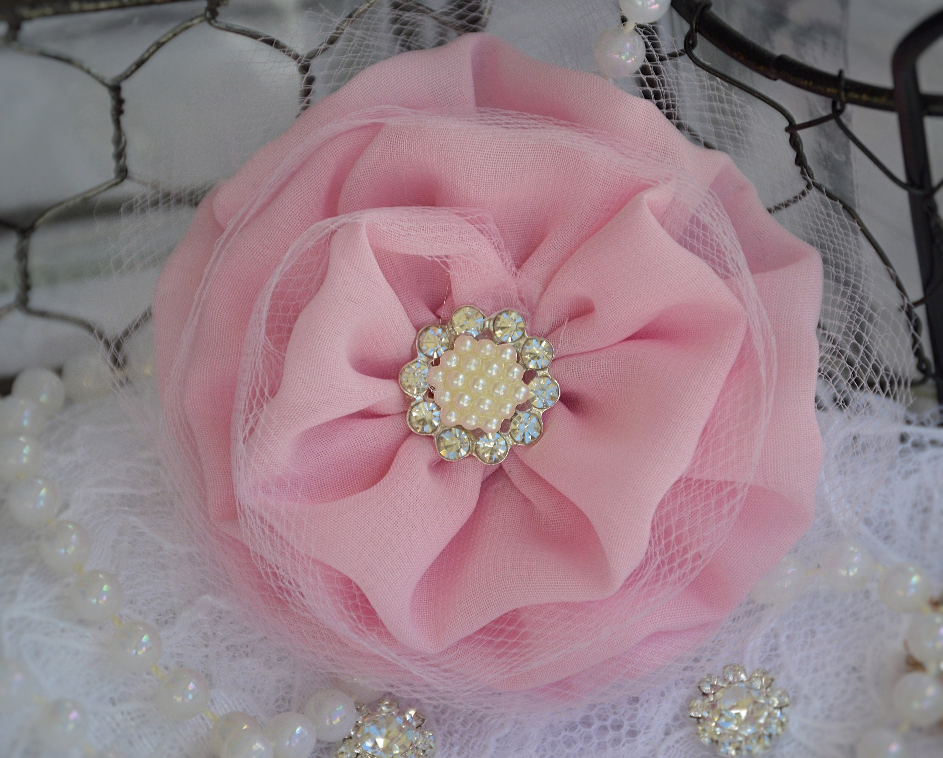 Rose Pink Chiffon Tulle Flowers Fabric Flowers 3 Etsy