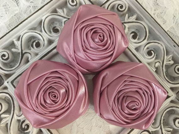 Satin Rolled Rosettes Satin Flowers Rolled Roses Satin Roses Rolled Satin Roses 1.5 Burgundy Satin Fabric Roses Satin Flowers