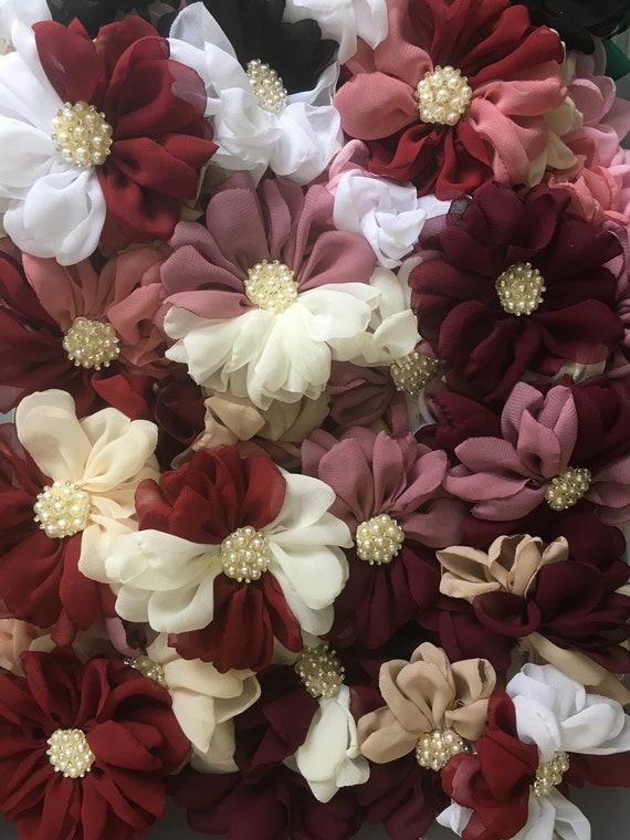 Ballerina Flower Chiffon Flower 3.5 Chiffon Flowers Ballerina Chiffon Flower Scarlet Burgundy Chiffon Flowers Chiffon Ruffle Flower