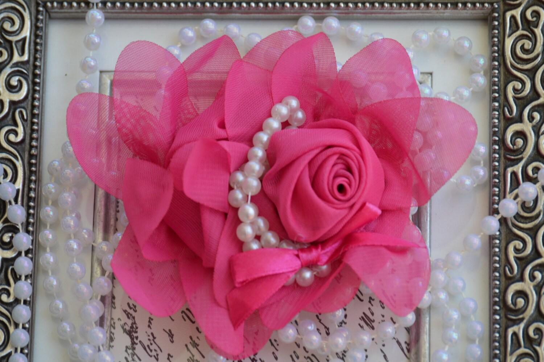 Chiffon Flower Hot Pink Chiffon Flowers 5 Chiffon Etsy