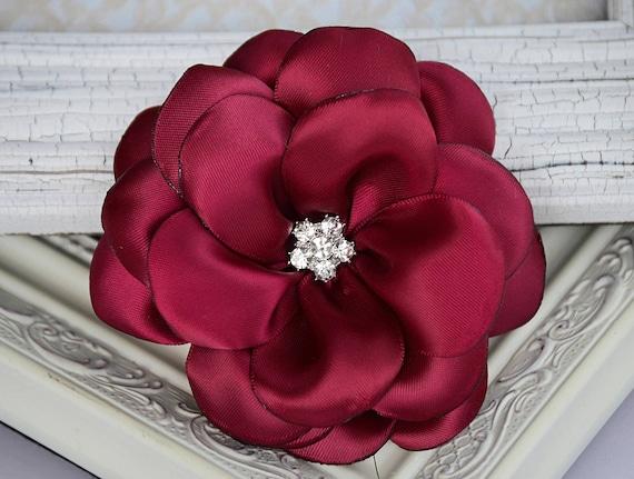 Burgundy Satin Ribbon Flowers 3 5 Satin Fabric Flowers Etsy