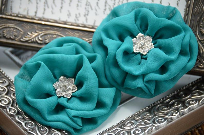 Flower Fabric Flowers Ruffle Flower Teal Purple Chiffon Flowers Chiffon Fabric Flowers Chiffon Flowers 3 Chiffon Flower