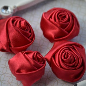 Rolled Rosettes 1.5 Wholesale Supplies Satin Rosettes Small Rosettes Rolled fFowers Blue Satin Rosette Satin Rose