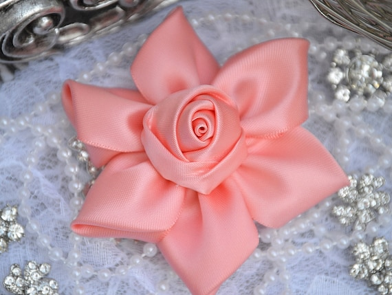 Small Satin Ribbon Flowers Satin Ribbon Flower Fabric Flowers Set of 2 Coral White or Ivory Satin Flowers 2.5 Choose Combination
