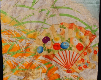 Ivory & Turquoise Furisode with Embroidered Floral Fans (WFBL2-KH12 1115 OK)