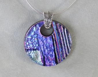 Fused art glass dichroic pendant