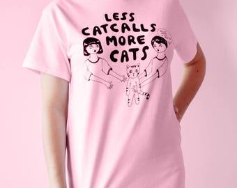 Less Catcalls More Cats T-shirt (pink)