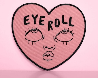 Eyeroll iron-on embroidered patch