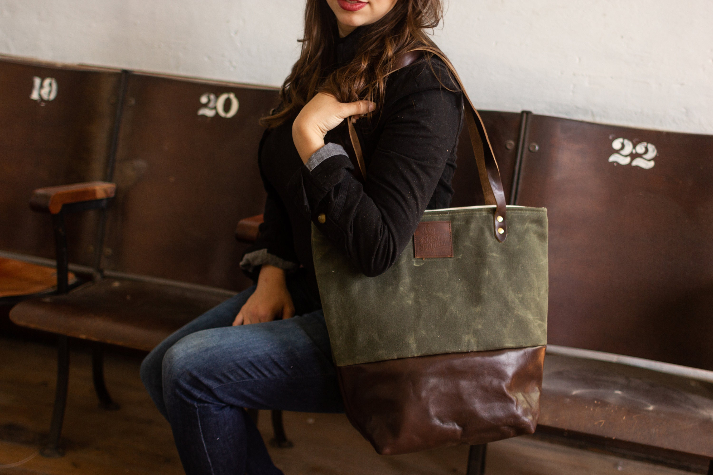 Free Shipping Waxed Canvas Tote Bag Tote Bag With Pockets Etsy