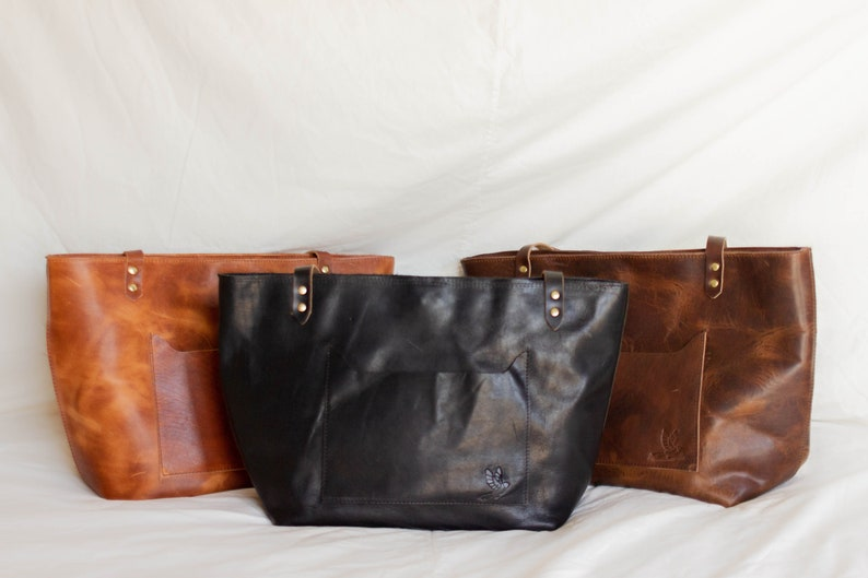 Leather tote bags with pockets for women Brown leather diaper bag Leather shoulder purse for school or work handbag gifts for women.