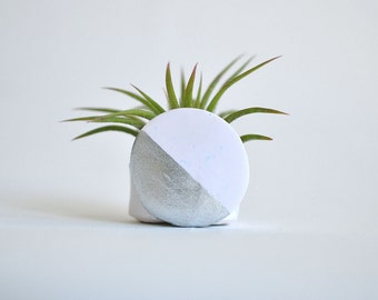 Circle with Metallic Silver Lacquer Mini Air Plant Planter