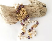 Stunning Museum of Fine Arts Necklace, Amethyst Baroque Pearl Rope, Fine Gold Plated Vintage Necklace