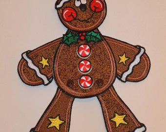 3b5b89824e32 Gingerbread Man Embroidered Romper Snowflake Romper Red