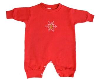 Gingerbread Man Embroidered Romper, Snowflake Romper, Red Romper, Fleece Romper, Red Bodysuit, Girls Romper, Boys Onesie, Christmas Jumpsuit