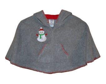 Snowman Embroidered Fleece Poncho, Fleece Poncho, Gray Poncho, Girl's Poncho, Polar Fleece Poncho, Hooded Poncho, Red Poncho, Girl's Jacket