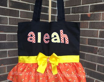 Candy Corn Trick or Treat Bag, Trick or Treat Bag, Personalized Trick or Treat Bag, Halloween Bag, Candy Corn Bag, Girl, Toddler, Baby