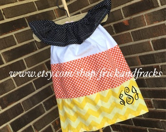 Candy Corn Ruffle Top Pillowcase Dress, Candy Corn Dress, Halloween Dress, Halloween Outfit, Toddler, Baby, Girl, Personalized Dress