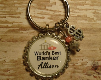 World's Best Bank Teller Banker Loan Officer key chain with charms