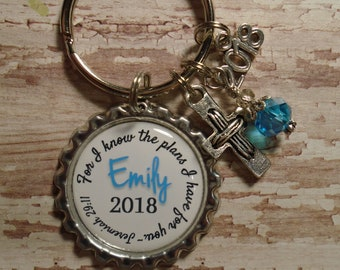 Personalized religious Graduation Class of 2018 key chain with charms