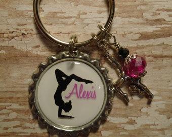 Personalized Gymnastics key chain with charms
