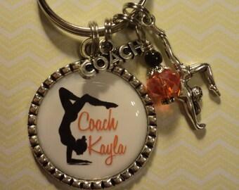 Personalized Gymnastics Coach/Teacher key chain with charms