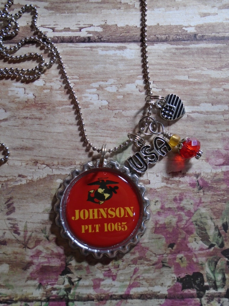 US Marines Personalized Platoon necklace with charms