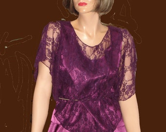 Mother of the Bride satin skirt and lace top Plum Aubergine