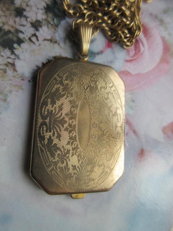 Antique Long Locket Necklace - Layering Necklace