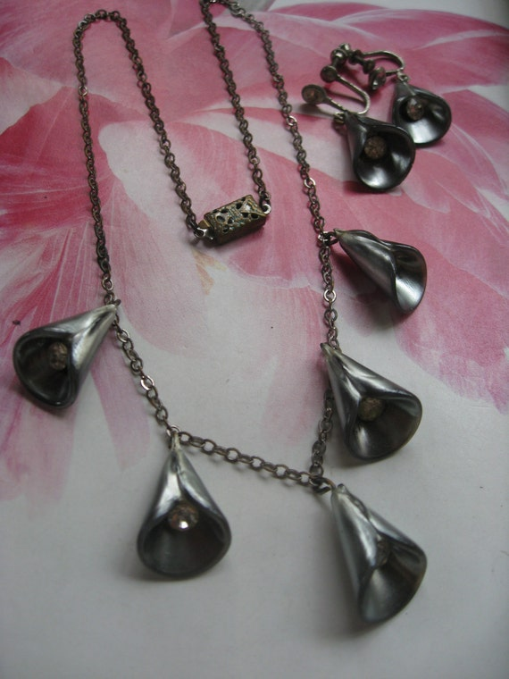 Vintage Deco Necklace Set, Early Plastic Jewelry,C