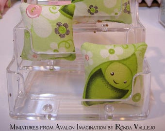 Miniature Pillow for use in 1:12th or 1/6th scale Cute Kawaii print in green Pea Pod fabric - small