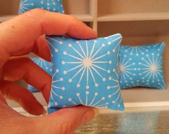 Barbie Pillow  1/6th scale in Mid Century Modern Blue Atomic pillows with a white starburst design