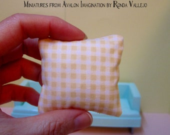 1:6TH Scale (Large) Miniature Pillow in Yellow Gingham fabric for Barbie, Blythe, etc.