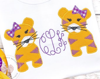 Tiger Girl with Bow Applique Shirt or Bodysuit with monogram