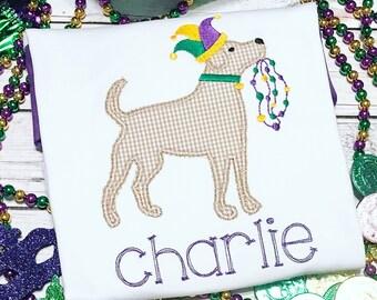 Personalized Mardi Gras Dog Applique Shirt