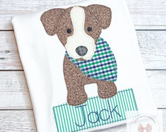 Bandana puppy Applique Shirt or Bodysuit for boys, embroidered